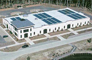 Aerial view of a photovoltaic installation located in an eco-industrial park
