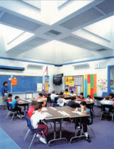 Sklylights providing natureal daylight to an elementary school classroom
