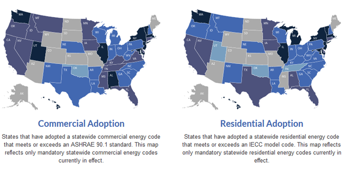 Left: US map of states that have adopted a statewide commercial energy code that meets or exceeds an ASHRAE 90.1 standard; Right: US map of states that have adopted a statewide residential energy code that meets or exceeds an IECC model code.