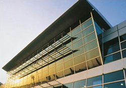 Photo of Istanbul's Ataturk Airport International Terminal Building's use of laminated glass for safety and securty