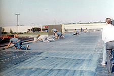 application of a fully adhered single-ply membrane