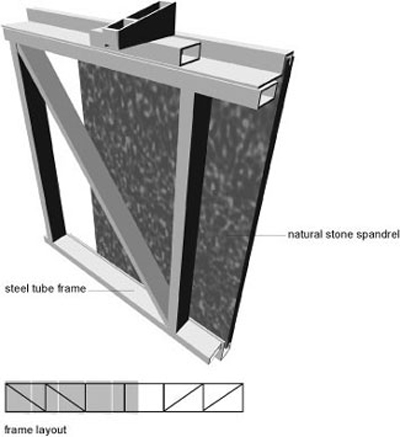 Illustration of spandrel assembly of natural stone mounted on a metal frame