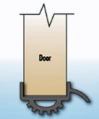 Illustration of a door shoe with drip and vinyl seal
