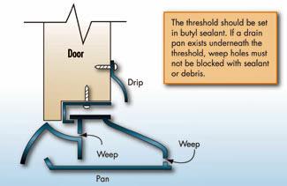 Illustration of an interlocking threshold with drain pan