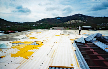 Steel deck where fasteners ran parallel to the steel flanges