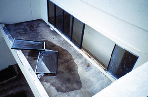 Two complete windows, including their frames, blown out