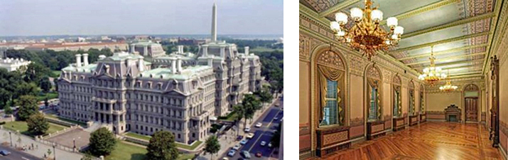 Side by side images: left-Exterior aerial view of the Dwight D. Eisenhower Executive Office Building; and right-Interior room with hardwood floors, decorative moldings, arched windows with window coverings, chandeliers, and decorative celiing in Dwight D. Eisenhower Executive Office Building