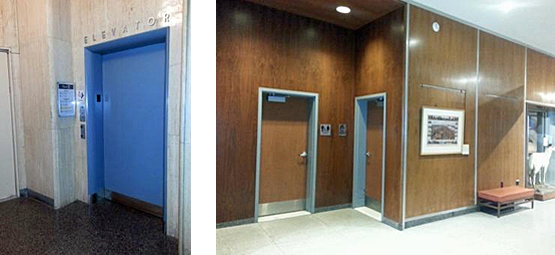 State Museum of Pennsylvania, historic signage over elevator and modern signage for floor directory for visitors