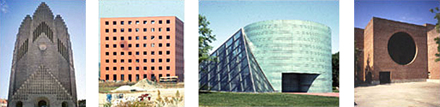 4 images left to right: 1-Grundtvig's Church in Copenhagen Denmark, 2-a building with a cubic shape, 3-a building with cylindrical and pyramidal shapes, and 4-a building with a circle subtracted from cubic volume