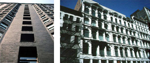 2 images left to right: 1-looking up at a tall brick building and 2-a large multi story white building with rows of windows