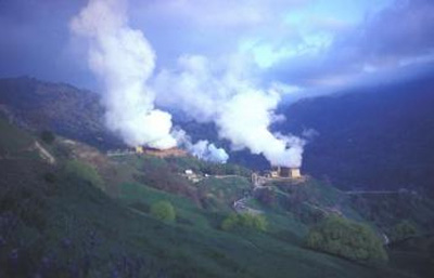 Photo of The Geysers, a geothermal power plant nestled in the hills near Santa Rosa in northern California.