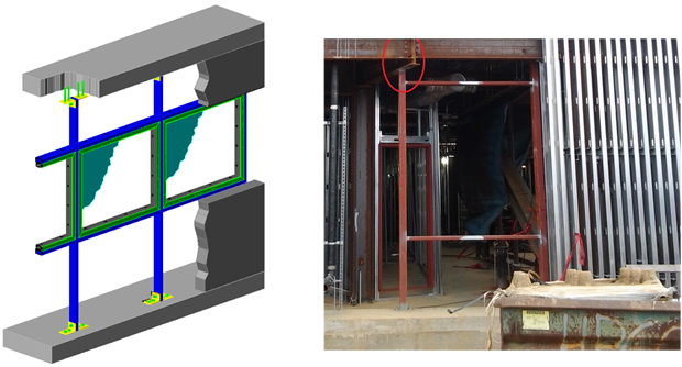 two general types of blast window steel H-Frame support for lightweight wall systems