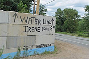 Wall showing the water line from Hurricane Irene
