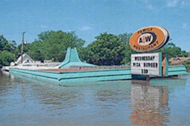 Floodwater at an A&W drive-in in Cedar Rapids, Iowa