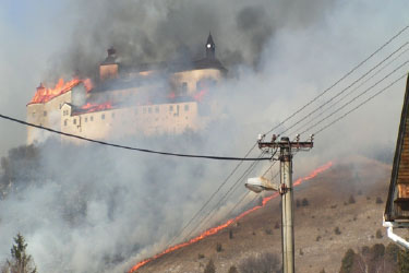 Photo of Krasna Horka Castle burning.