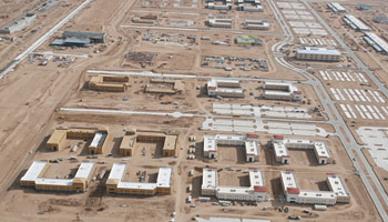 Overhead picture of Fort Bliss TX showing 24 newly constructed barracks