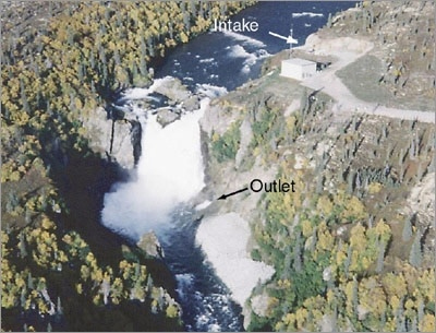 Photo of the Tazimina project in Alaska showing an intake on the upper part of a river, with the water flowing down a waterfall into an outlet on the lower part of the river