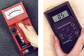 2 side by side photos: left - Photo 9 of red, handheld Tramex Capacitance meter and right - Photo 10 of black, digital, handhel Tramex Capacitance meter