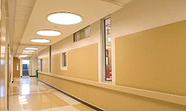 Corridor featuring circular ceiling lights, interior glass views into labs, and coordinating colors and patterns