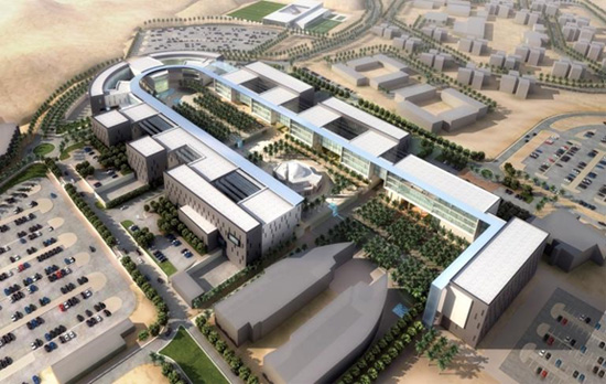 Overview rendering of the Medical School in Jeddah, Saudi Arabia that will be built. All of the buildings on this campus will be connected