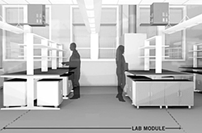 The typical lab module is shown here three dimensionally with casework and circulation in the an actual lab
