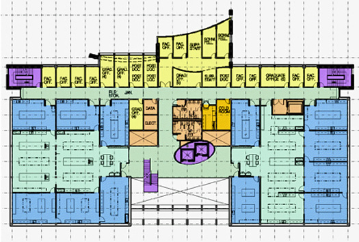 Colored floor plan of a laboratory