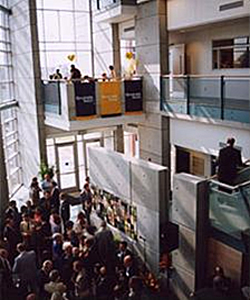 Interior photo of atrium with people