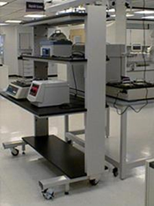 Mobile cart holding lab equipment