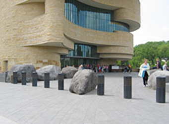 Bollards and boulders outside the American Indian Museum, Washington, DC
