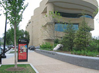 Raised planters as vehicle barriers outside the American Indian Museum, Washington, DC