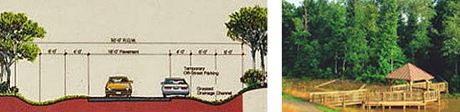2 images side by side. Left: Drawing of curbless roads in Northridge Community; Right: Photo of Amenities in Northridge Community