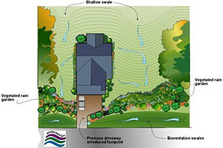 Drawing of a home with shallow swales on either side, vegetated rain graden on two sides of the property, and bioretention swales on street side on the home.