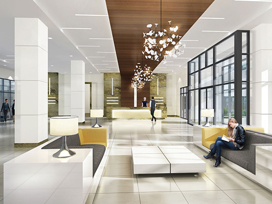 lobby space featuring light-colored and well-lit surroundings and an informal seating area