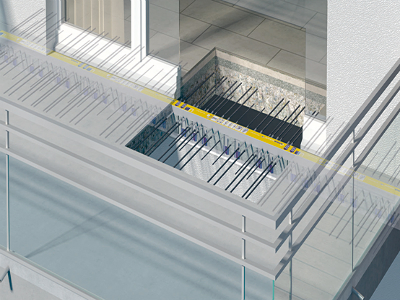Figure 12. Thermal breaks for cantilevered reinforced concrete balcony slabs eliminate a significant source of thermal bridging and improve thermal comfort