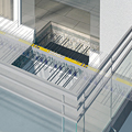 Detail showing thermal breaks for cantilevered reinforced concrete balcony slabs.