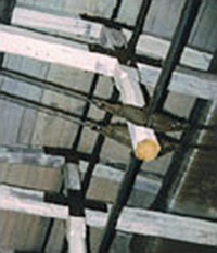 Photo of exposed steel truss