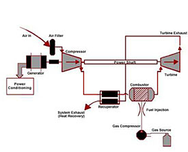 Diagram of a recuperated microturbine system. The air moves in through the air filter and then on to the compressor. From this point the air eithercontinues on to the power shaft or the recuperator. The recuperator then filters out to system exhaust for heat recovery or channels into the turbine exhaust. The power shaft leads to the turbine as does the combustor. The combustor is fueled by a gas source which is added to the gas compressor, through the fuel injector and into the combustor.