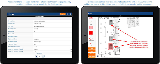 Two screens showing a sample assessment form and its associated redlined floor plan