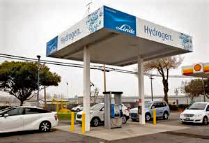 A hydrogen refueling station that resembles a traditional gas pump station with a line of cars