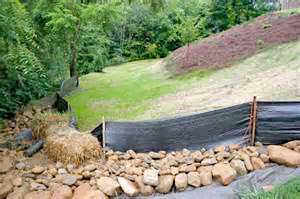 Silt fence used for erosion control measures