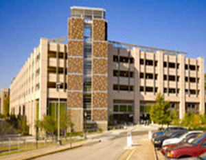 Exterior photo of Sands Parking Garage at Duke University