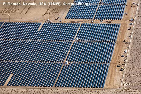 Aerial photo of multiple rows of thin-film solar panels in a field in Nevada