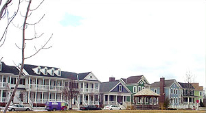 Exterior of houses in Cherry Hill Village, a New Urbanist Community in Canton Township, MI