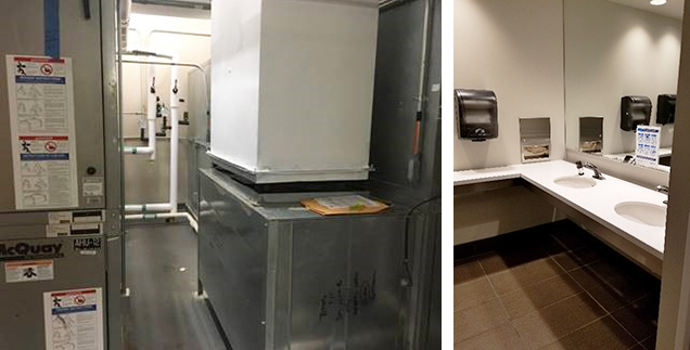 two side by side images, left is a building's equipment room and right is an office bathroom vanity