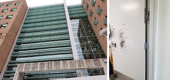 two side by side images, left is the exterior of a large building with efflorescence and black mold caused by water saturation and right is a scratched up office door