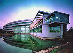The Central Research Institute-Taejon, Korea, with an artifical lake along the entry side