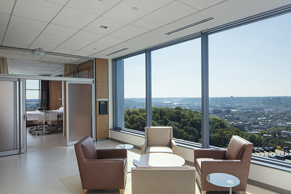 The patient floor at Christ Hospital Joint and Spine Center includes a dedicated gathering space for visitors with natural daylighting and views