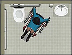 Animation of wheelchair maneuvering in accessible toilet room