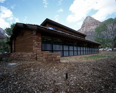 Zion's Visitor Center showing Trombe wall and clerestory windows.