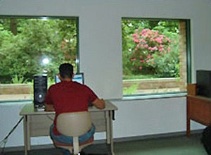 A desk set against windows so the user is facing an outdoor view.